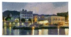 Panoramic View Of Spetses Town Beach Towel