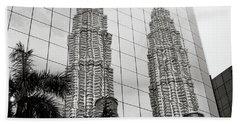 Petronas Towers Reflection Beach Towel
