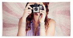 Pin-up Photographer Girl Taking Surprise Photo Beach Towel