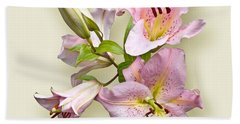 Pink Lilies On Cream Beach Towel by Jane McIlroy
