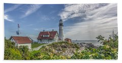 Beach Towel featuring the photograph Portland Headlight by Jane Luxton