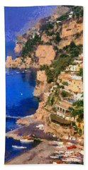 Positano Town In Italy Beach Towel