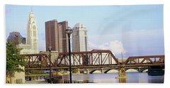 Railway Bridge Across A River Beach Towel