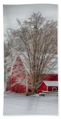 Red Vermont Barn Beach Towel