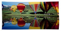 Reflection Of Hot Air Balloons Beach Sheet