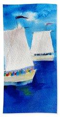 2 Sailboats Beach Sheet by Carlin Blahnik