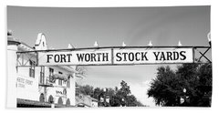 Signboard Over A Street, Fort Worth Beach Towel