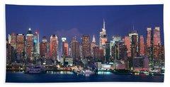 Skylines At Dusk, Manhattan, New York Beach Towel