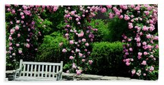 Pink Rose Garden Beach Towel