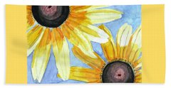 Beach Towel featuring the painting Summer Susans by Angela Davies