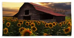 Sunflower Farm Beach Sheet by Debra and Dave Vanderlaan