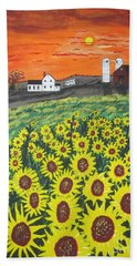 Beach Towel featuring the painting Sunflower Valley Farm by Jeffrey Koss