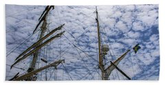 Tall Ship Mast Beach Towel by Dale Powell
