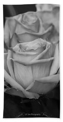 Tea Roses In Black And White Beach Towel