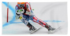 Ted Ligety Skiing  Beach Sheet by Lanjee Chee