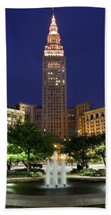Terminal Tower Part Two Beach Sheet by Frozen in Time Fine Art Photography