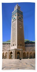 Beach Sheet featuring the photograph The Hassan II Mosque Grand Mosque With The Worlds Tallest 210m Minaret Sour Jdid Casablanca Morocco by Ralph A  Ledergerber-Photography