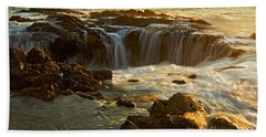 Beach Towel featuring the photograph Thor's Well by Nick  Boren
