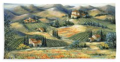 Tuscan Villa And Poppies Beach Towel