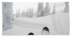 View Past Ski Tips To Fresh Snow Clad Beach Towel
