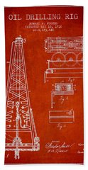 Vintage Oil Drilling Rig Patent From 1916 Beach Towel
