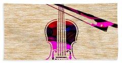 Violin And Bow Beach Towel