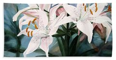 White Lilies Beach Sheet by Laurie Rohner