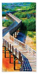 Winding Path In Blue Bloom Beach Towel
