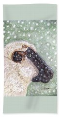 Beach Towel featuring the painting Wishing Ewe A White Christmas by Angela Davies