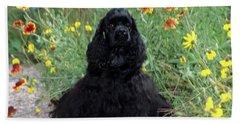 2000s Black Cocker Spaniel Puppy Dog Beach Towel