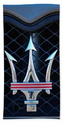 2005 Maserati Gt Coupe Corsa Emblem Beach Sheet by Jill Reger