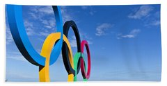 2012 Olympic Rings Over Edinburgh Beach Towel