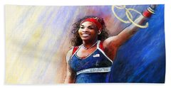 2012 Tennis Olympics Gold Medal Serena Williams Beach Towel by Miki De Goodaboom