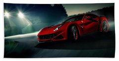 2014 Novitec Rosso Ferrari F12 Berlinetta N Largo Beach Towel by Movie Poster Prints