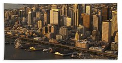 Aerial View Of Seattle Skyline Along Waterfront Beach Towel