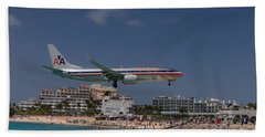 American Airlines At St. Maarten  Beach Towel by David Gleeson