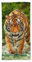 Amur Tiger Painting Beach Towel