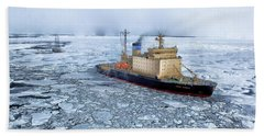 Beach Towel featuring the photograph Arctic Sea Ocean Water Antarctica Winter Snow by Paul Fearn