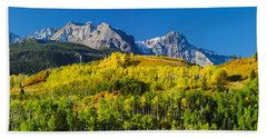 Aspen Trees With Mountains Beach Towel