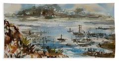 Beach Towel featuring the painting Bay Scene by Xueling Zou
