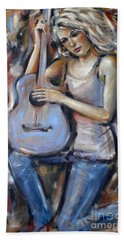 Blue Guitar 010709 Beach Towel by Selena Boron