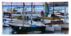 Boats In The Harbor Beach Sheet by Mike Ste Marie