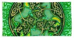 3 Celtic Irish Horses Beach Sheet by Michele Avanti