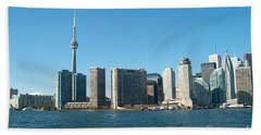 Cn Tower Toronto View From Centre Island Downtown Panorama Improvised With Graphic Artist Tools Pain Beach Towel