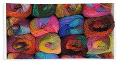 Colorful Knitting Yarn Beach Towel