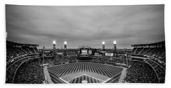 Comiskey Park Night Game - Black And White Beach Towel