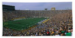 High Angle View Of A Football Stadium Beach Towel by Panoramic Images