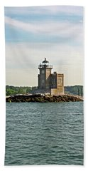 Beach Sheet featuring the photograph Huntington Lighthouse by Karen Silvestri