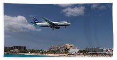 jetBlue landing at St Maarten Beach Towel