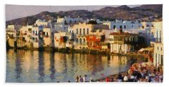 Little Venice In Mykonos Island Beach Towel